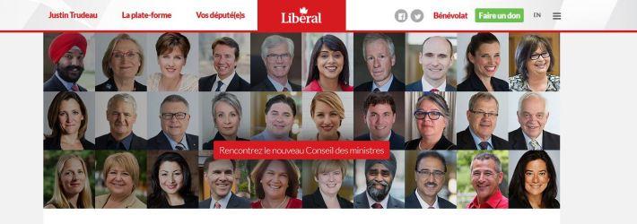 Capture d'écran 20.11.2015 du site du Parti libéral - composition du gouvernement